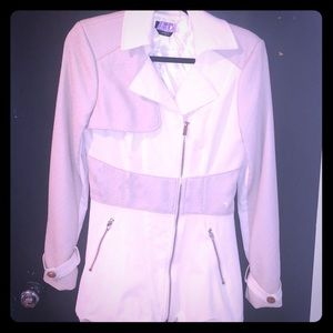 Bebe cream jacket with gold zippers